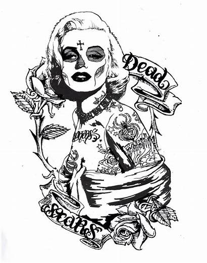 Marilyn Monroe Coloring Pages Drawing Skull Tattoo