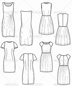 fashion flat sketches for day dress collection by With clothing templates for illustrator