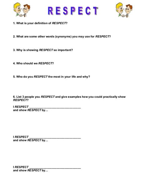 respect worksheet by carlyrelf via slideshare a lot of