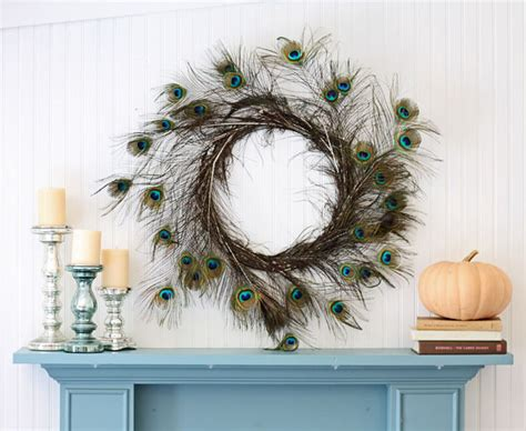 Peacock Decorations For Home: Peacock Feather Wreath