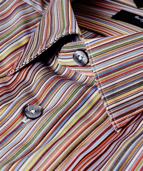 paul smith tailored fit signature striped shirt  men lyst