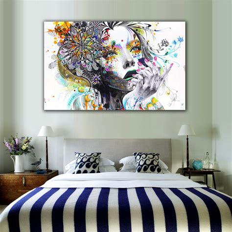 piece modern wall art girl  flowers unframed canvas