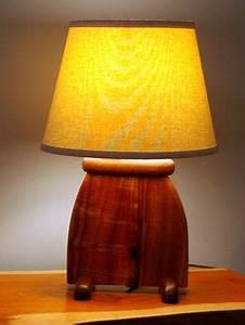 hand made hawaiian koa wood art deco slab table lamp by With koa wood floor lamp