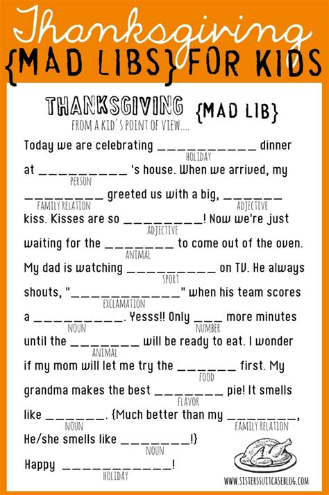 Thanksgiving Mad Libs Printable  My Sister's Suitcase