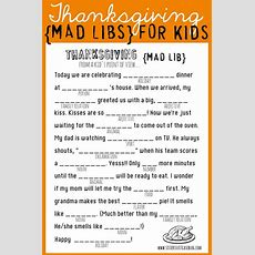 Thanksgiving Mad Libs Printable  My Sister's Suitcase  Packed With Creativity