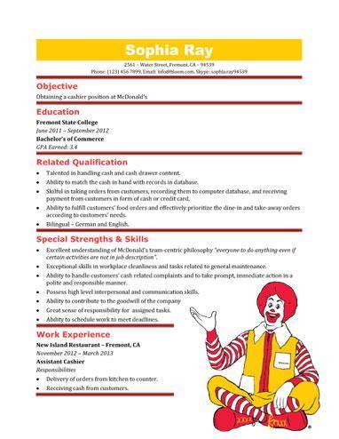 Mcdonalds Cashier Resume mcdonald s cashier resume template resume templates and