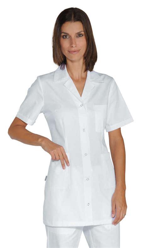 blouse de cuisine femme pas cher tunique infirmiere manches courtes marbella blanche 100 coton