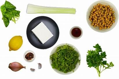 Tofu Grilled Ingredients Basil Chickpeas Rocket Warm