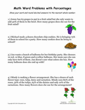 Percentage Word Problems #2  Worksheet Educationcom