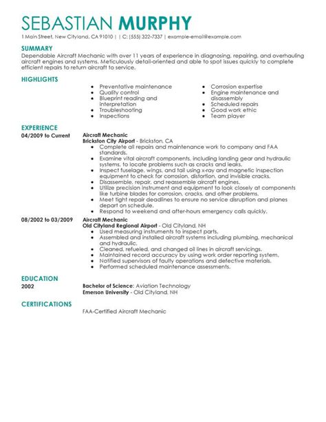 Aircraft Mechanic Cv by Best Aircraft Mechanic Resume Exle From Professional