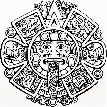 Aztec Calendar Coloring Pages Drawing Designs Tattoo