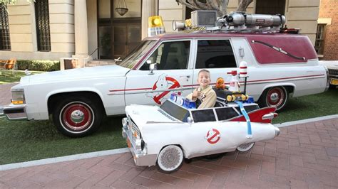 What Is The Ghostbusters Car by Boy With Ghostbusters Ecto 1 Car Costume