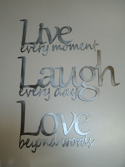Roommates® live laugh love script peel & stick wall decals in black. Live Laugh Love Metal Wall Art Polished Steel