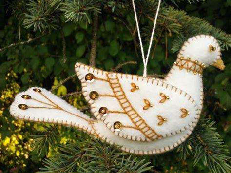 white  gold wool felt dove ornament wool felt bird