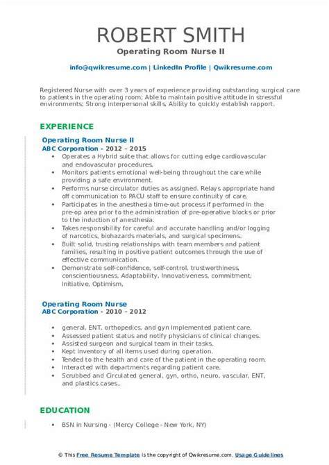 operating room nurse resume samples qwikresume