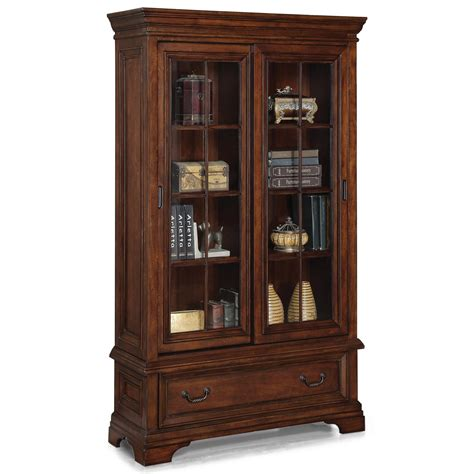 Closed Bookcases by Flexsteel Wynwood Collection Woodlands Traditional Sliding