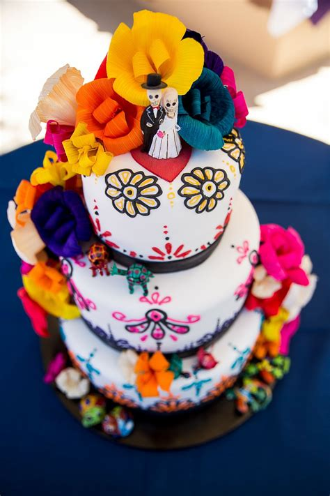 Colorful Wedding Cake With Paper Flowers