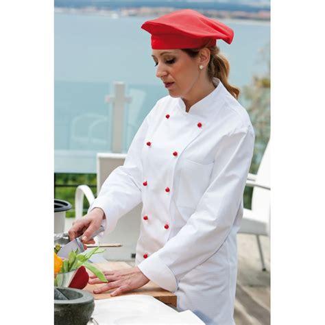 cuisine de femmes veste de cuisine femme col officier poche poitrine 100 coton