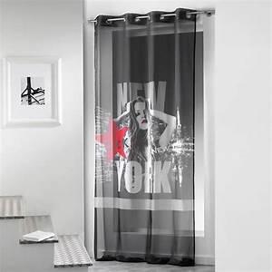 Rideau Voilage Rouge : rideau voilage diva 140x260cm noir rouge ~ Teatrodelosmanantiales.com Idées de Décoration