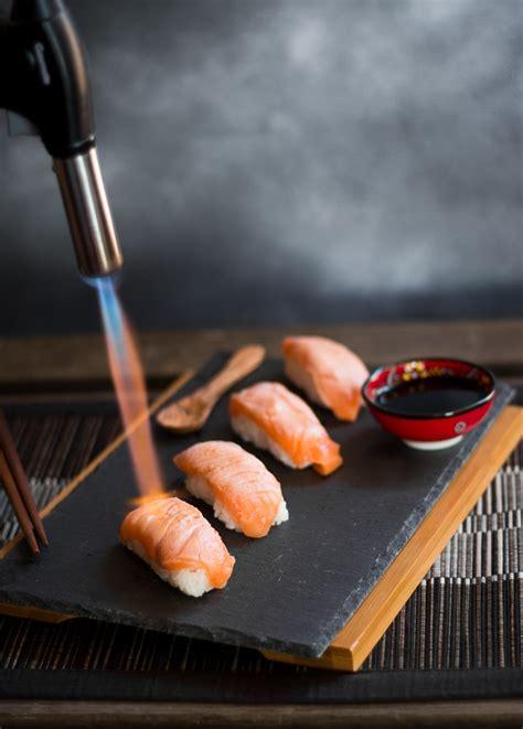 seared salmon sushi nigiri blogtastic food