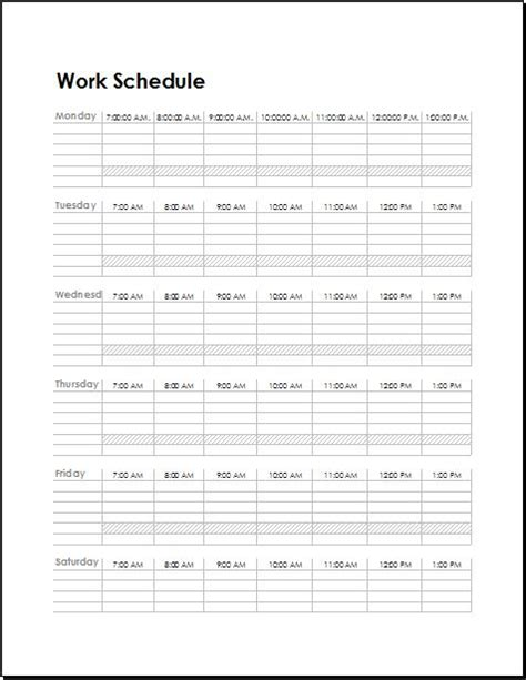work schedule templates  employees word excel templates