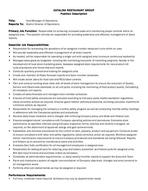 job description area manager  operations