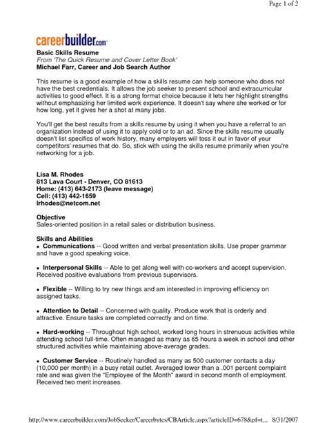 Skills Summary by Exle Resume Basic Computer Skills Summary Skill Sle