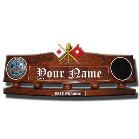 wooden name signs for desk hand carved desk name plate signal corps