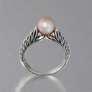 edelweiss 14k gold engagement ring with pink pearl With pink pearl wedding rings