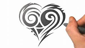 How to Draw a Cute Tribal Heart Tattoo Design | Just Draw ...