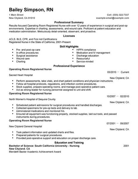 operating room registered resume exle