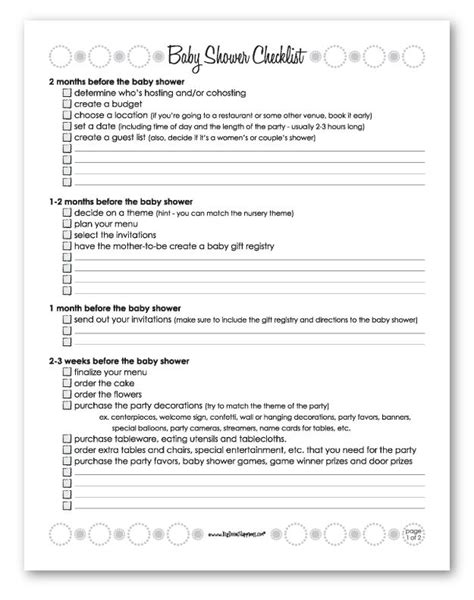 Baby Shower Planner Template by Baby Shower Planning Checklist Freeprintables Tips