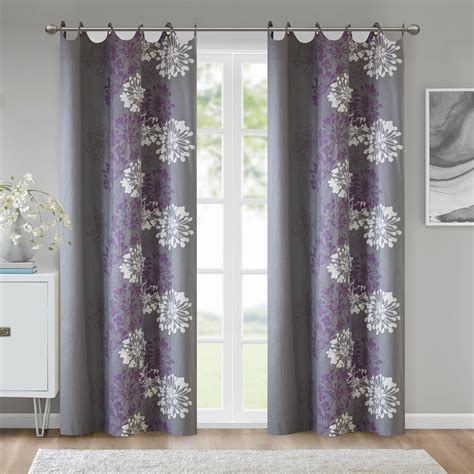 gray floral curtains ally floral printed curtain panel purple grey 50 quot x84