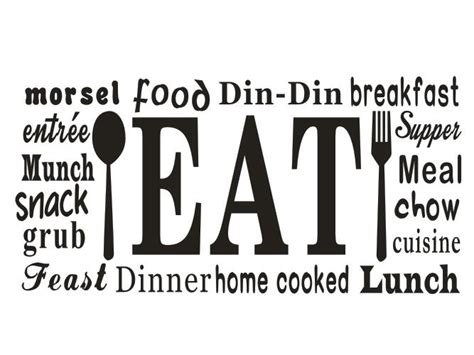 stickers phrase cuisine kitchen vinyl wall decal food dinner feast chow kitchen
