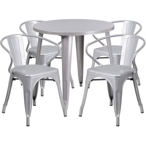 30 silver metal indoor outdoor table set with 4