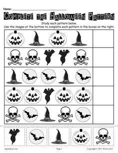 halloween activities  patterning strips  preschool