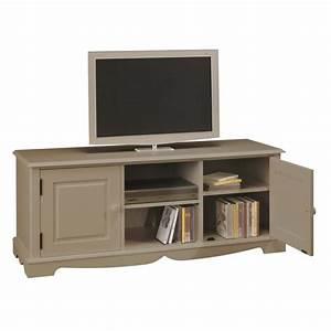Meuble Tv Hifi : meuble tv hifi taupe 2 portes 2 niches beaux meubles pas chers ~ Teatrodelosmanantiales.com Idées de Décoration