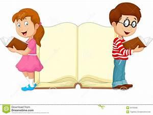 Cartoon Kids Reading Book Stock Vector - Image: 50763208
