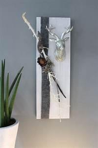 Wanddeko Für Draußen : he56 wanddeko aus neuem holz wei gebeiztes brett dekoriert mit nat rlichen materialien ~ Eleganceandgraceweddings.com Haus und Dekorationen