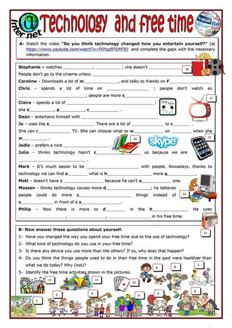 technology   time worksheet  esl printable