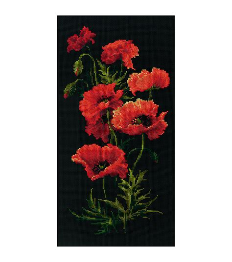 riolis poppies counted cross stitch kit joann