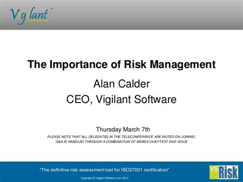 the importance of alarms the importance of information security risk management