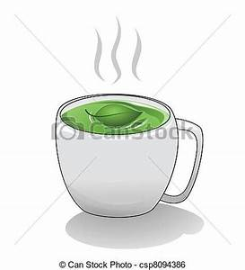 Clip Art Vector of Tea Cup - A hot steaming cup of green ...