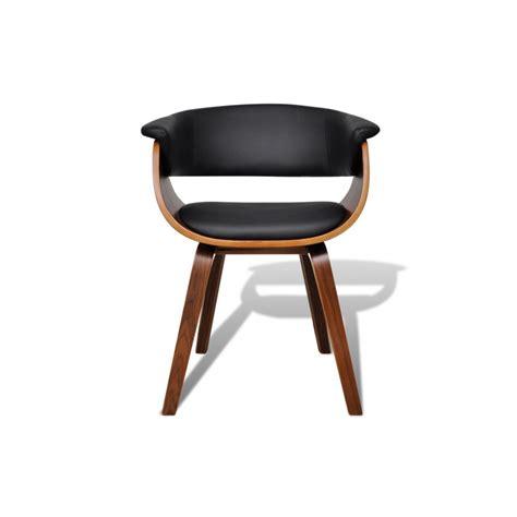 ensemble de 6 chaises en bois et dossier en simili cuir