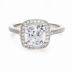 cushion cut diamond thin pave band cushion cut diamond With cushion cut halo engagement ring with wedding band