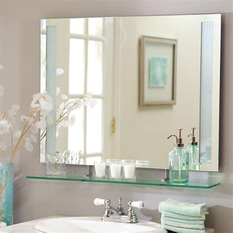 Bathroom Mirror by D 233 Cor Frameless Roxi Wall Mirror With Shelf