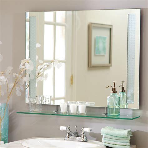 Décor Wonderland Frameless Roxi Wall Mirror with Shelf