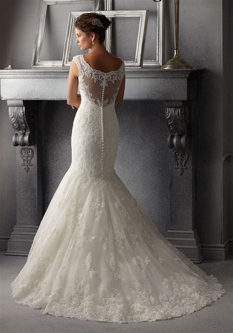 delicate beading  alencon lace wedding dress style