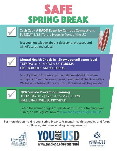 safe spring break   usd suicide prevention
