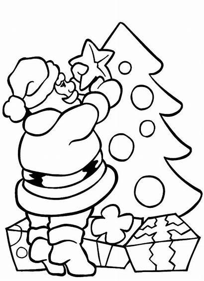 Coloring Santa Christmas Tree Pages Printable Educative